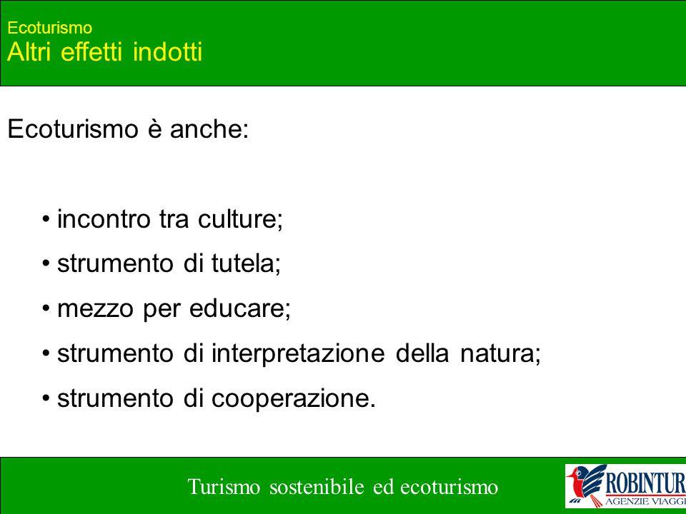 Turismo sostenibile ed ecoturismo Ecoturismo Altri effetti indotti Ecoturismo è anche: incontro tra culture; strumento di tutela; mezzo per educare; s