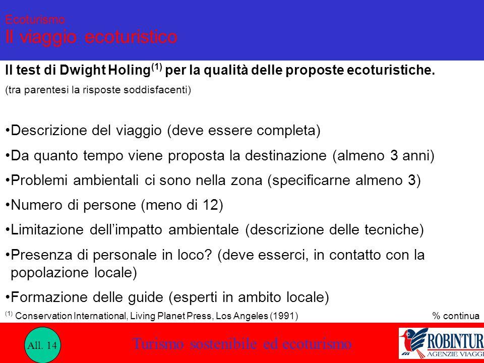 Turismo sostenibile ed ecoturismo Ecoturismo Il viaggio ecoturistico Il test di Dwight Holing (1) per la qualità delle proposte ecoturistiche. (tra pa