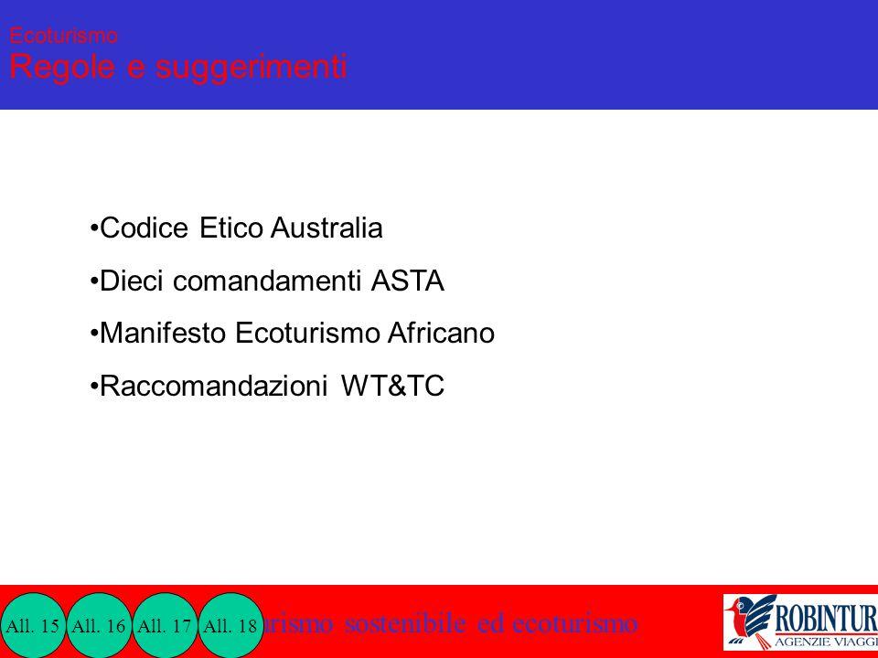 Turismo sostenibile ed ecoturismo Ecoturismo Regole e suggerimenti Codice Etico Australia Dieci comandamenti ASTA Manifesto Ecoturismo Africano Raccom