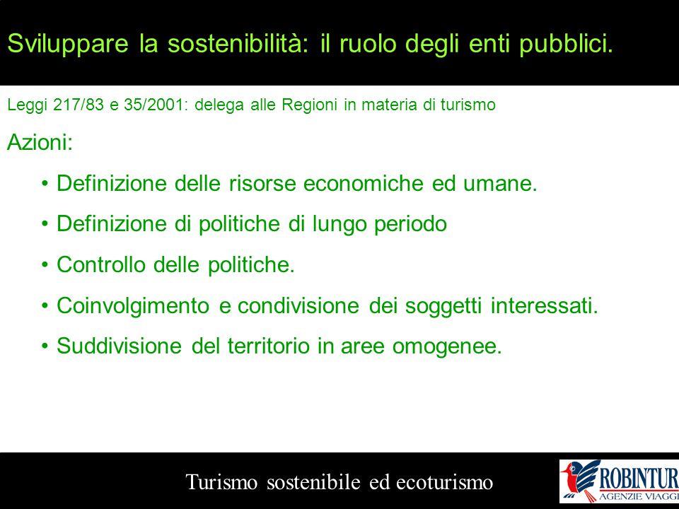 Sviluppare la sostenibilità: il ruolo degli enti pubblici. Turismo sostenibile ed ecoturismo Leggi 217/83 e 35/2001: delega alle Regioni in materia di