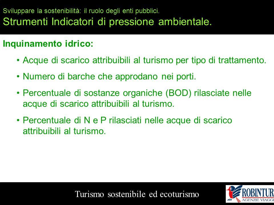Sviluppare la sostenibilità: il ruolo degli enti pubblici. Strumenti Indicatori di pressione ambientale. Turismo sostenibile ed ecoturismo Inquinament