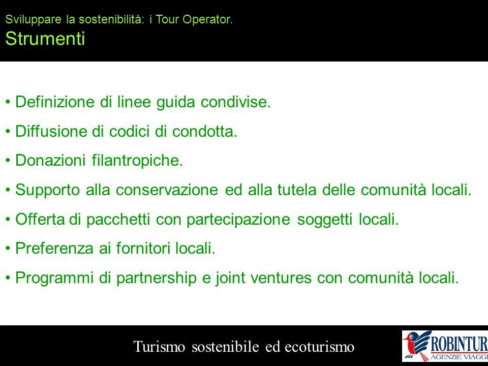 Turismo sostenibile ed ecoturismo Sviluppare la sostenibilità: i Tour Operator. Strumenti Definizione di linee guida condivise. Diffusione di codici d