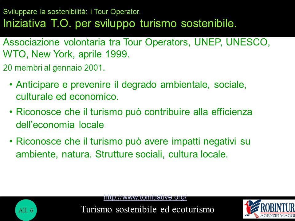 Turismo sostenibile ed ecoturismo Sviluppare la sostenibilità: i Tour Operator. Iniziativa T.O. per sviluppo turismo sostenibile. Associazione volonta