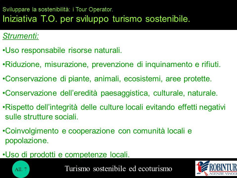 Turismo sostenibile ed ecoturismo Sviluppare la sostenibilità: i Tour Operator. Iniziativa T.O. per sviluppo turismo sostenibile. Strumenti: Uso respo