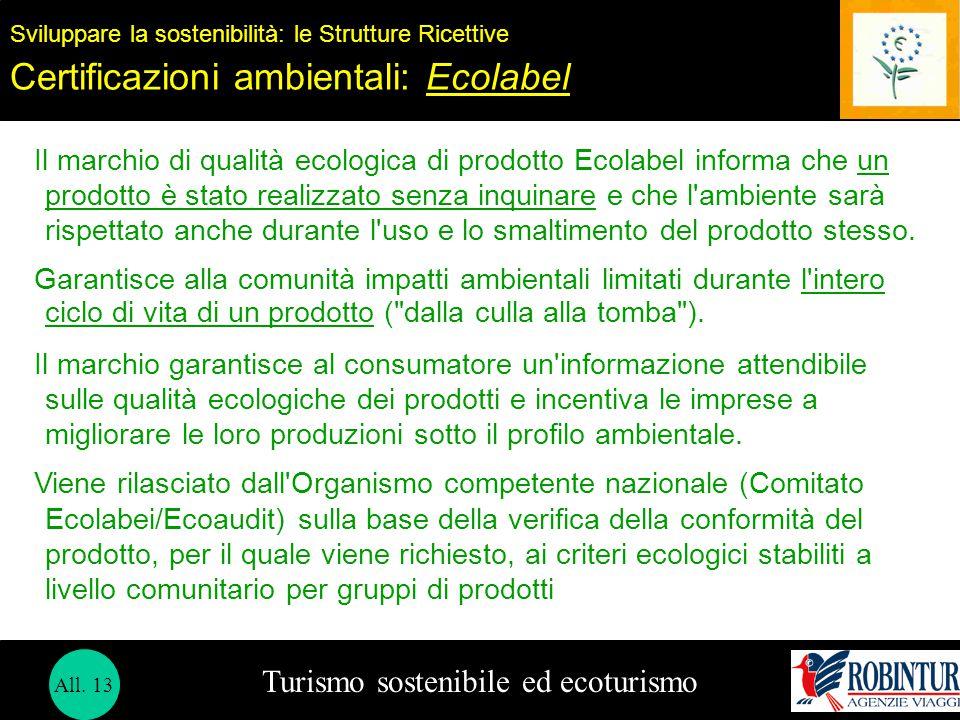 Turismo sostenibile ed ecoturismo Sviluppare la sostenibilità: le Strutture Ricettive Certificazioni ambientali: Ecolabel Il marchio di qualità ecolog
