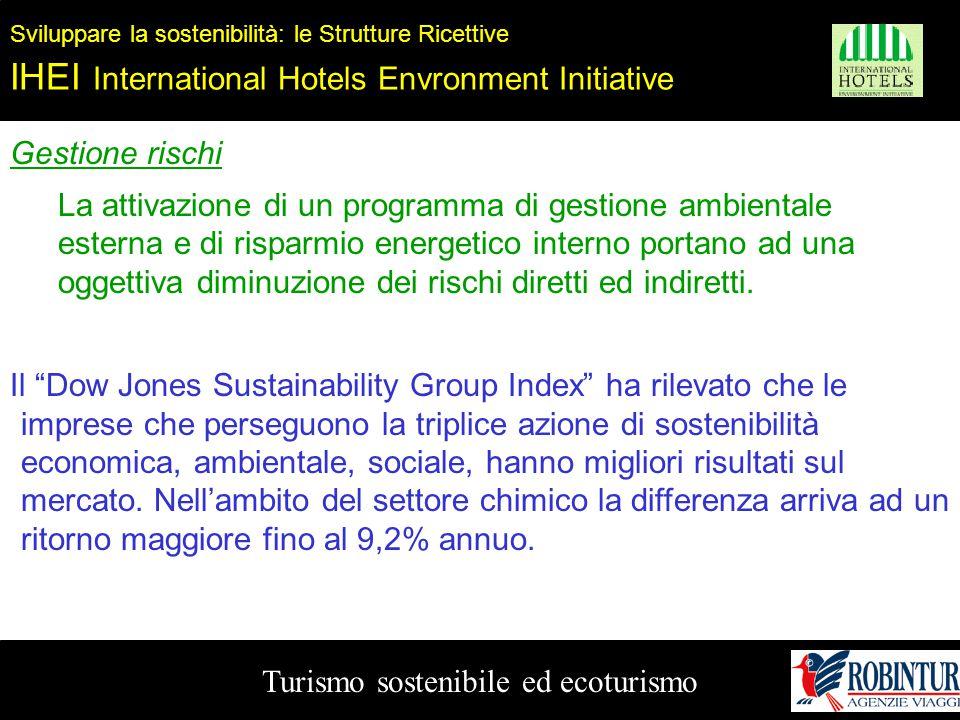 Turismo sostenibile ed ecoturismo Sviluppare la sostenibilità: le Strutture Ricettive IHEI International Hotels Envronment Initiative Gestione rischi