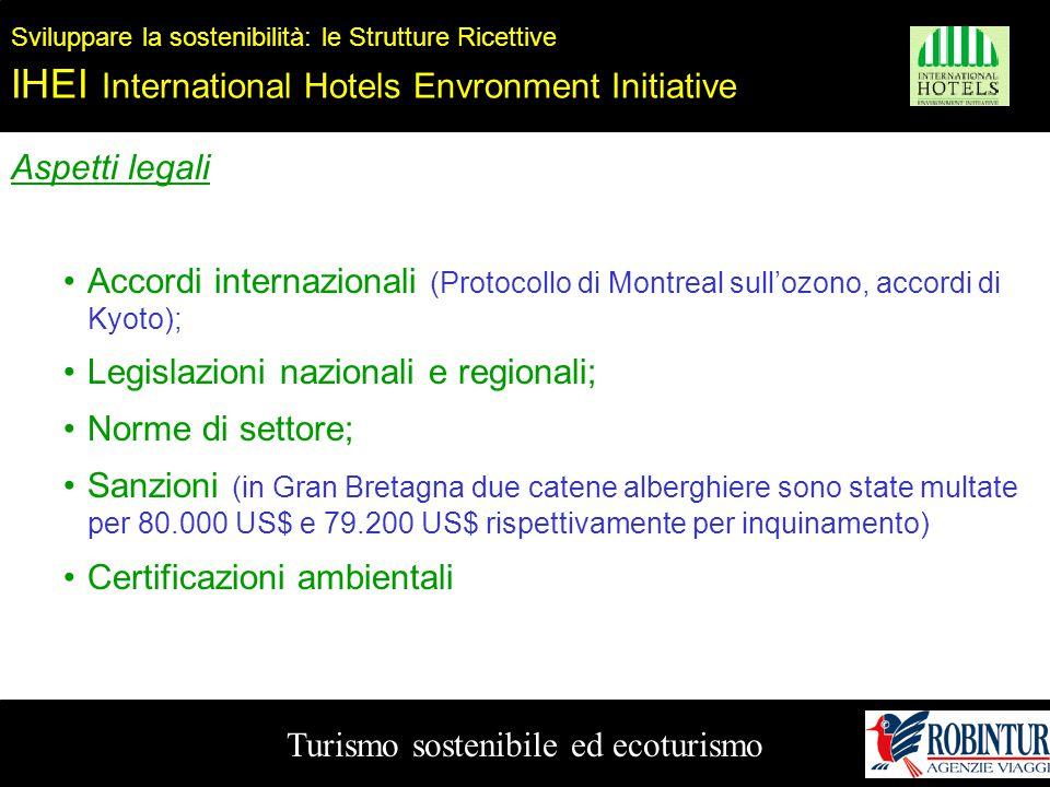 Turismo sostenibile ed ecoturismo Sviluppare la sostenibilità: le Strutture Ricettive IHEI International Hotels Envronment Initiative Aspetti legali A