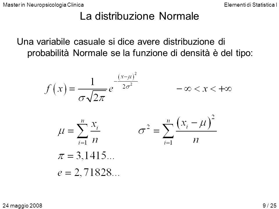 Master in Neuropsicologia ClinicaElementi di Statistica I 24 maggio 20089 / 25 La distribuzione Normale Una variabile casuale si dice avere distribuzione di probabilità Normale se la funzione di densità è del tipo: