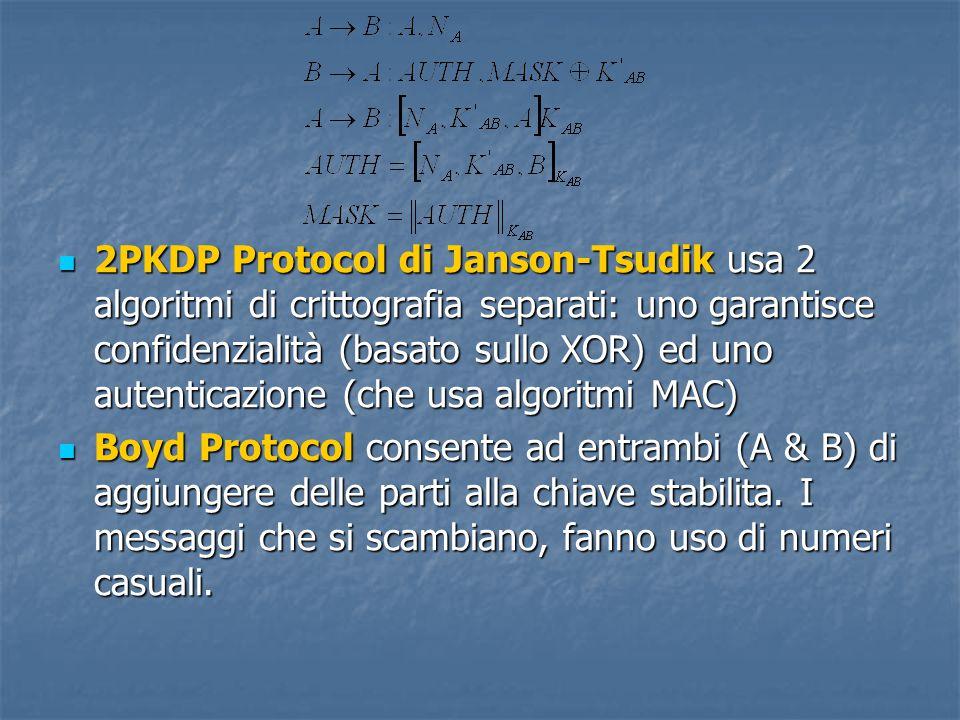 2PKDP Protocol di Janson-Tsudik usa 2 algoritmi di crittografia separati: uno garantisce confidenzialità (basato sullo XOR) ed uno autenticazione (che usa algoritmi MAC) 2PKDP Protocol di Janson-Tsudik usa 2 algoritmi di crittografia separati: uno garantisce confidenzialità (basato sullo XOR) ed uno autenticazione (che usa algoritmi MAC) Boyd Protocol consente ad entrambi (A & B) di aggiungere delle parti alla chiave stabilita.