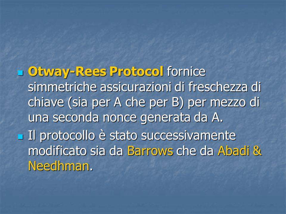 Otway-Rees Protocol fornice simmetriche assicurazioni di freschezza di chiave (sia per A che per B) per mezzo di una seconda nonce generata da A.