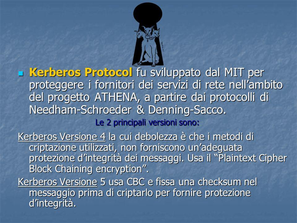 Kerberos Protocol fu sviluppato dal MIT per proteggere i fornitori dei servizi di rete nell'ambito del progetto ATHENA, a partire dai protocolli di Needham-Schroeder & Denning-Sacco.