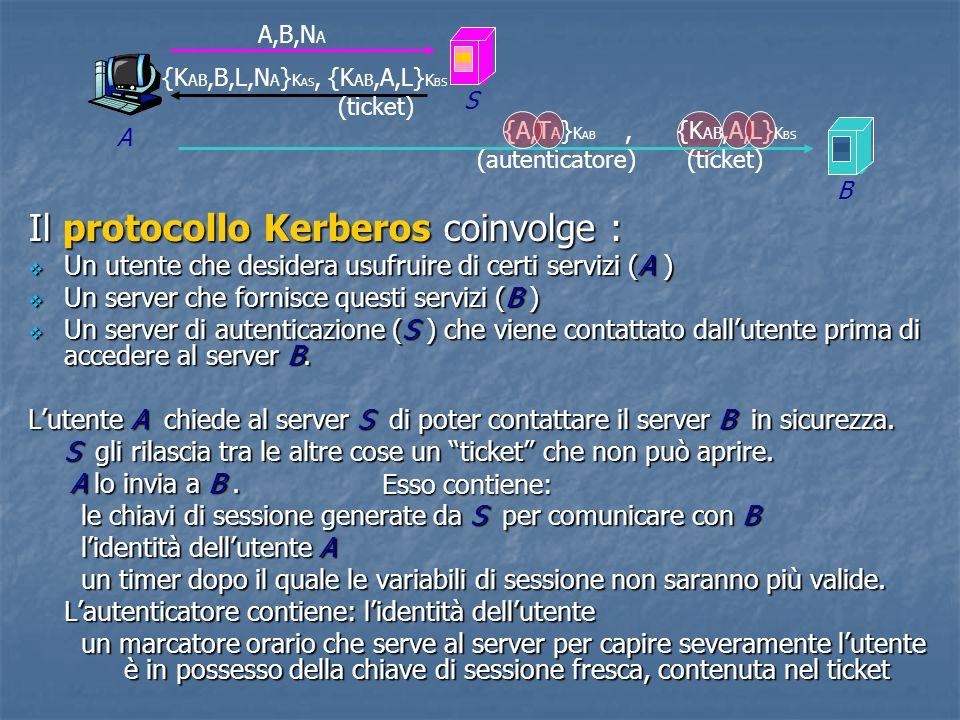 Il protocollo Kerberos coinvolge :  Un utente che desidera usufruire di certi servizi (A )  Un server che fornisce questi servizi (B )  Un server di autenticazione (S ) che viene contattato dall'utente prima di accedere al server B.