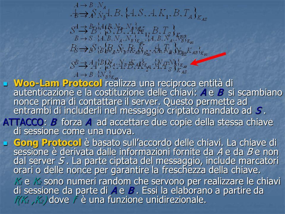 Woo-Lam Protocol realizza una reciproca entità di autenticazione e la costituzione delle chiavi: A e B si scambiano nonce prima di contattare il server.