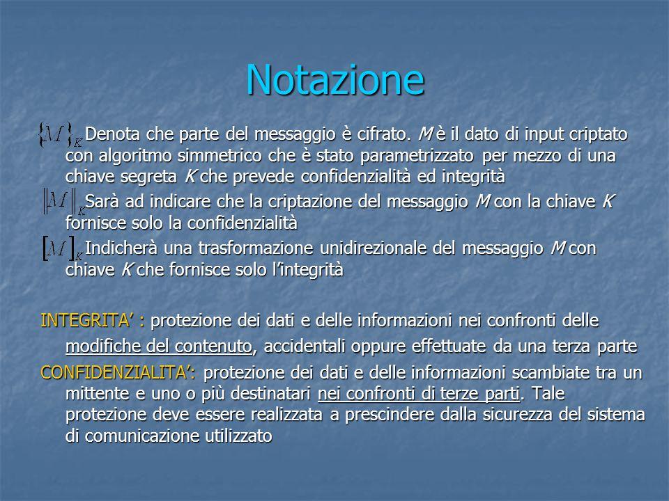 Notazione Denota che parte del messaggio è cifrato.