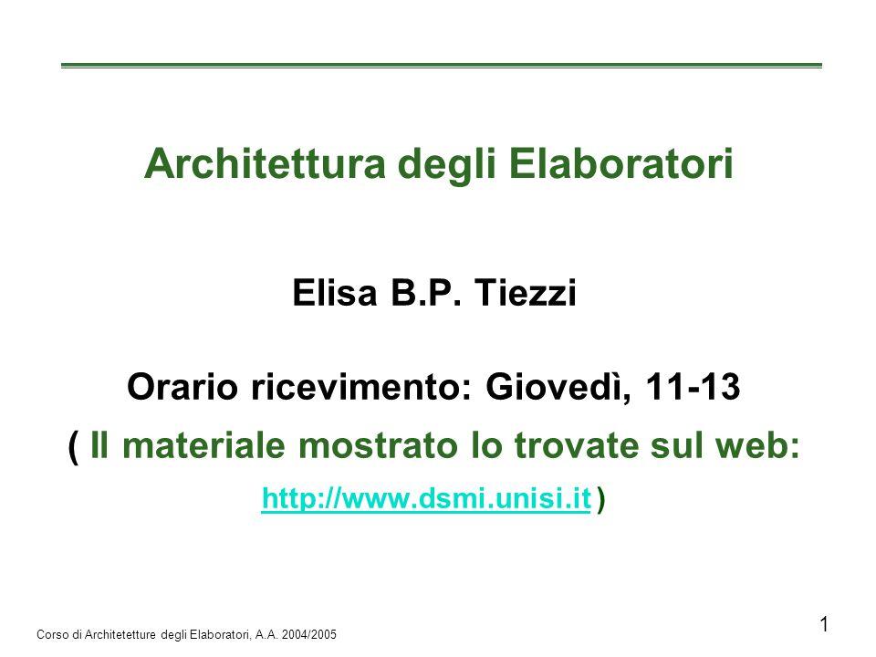 Corso di Architetetture degli Elaboratori, A.A.2004/2005 12 Usiamo molto i lucidi.