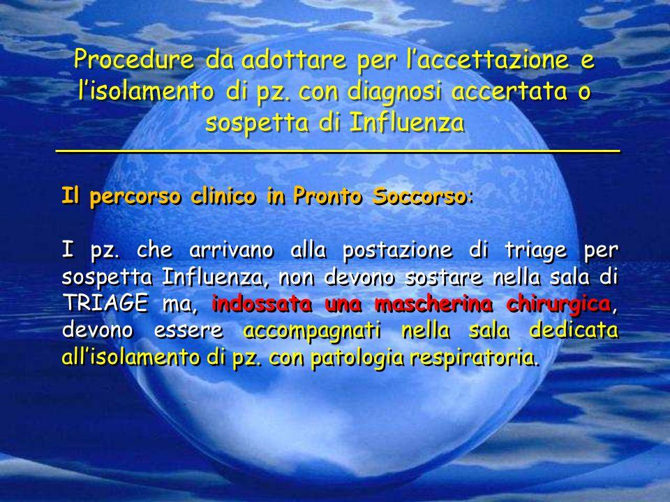 Il percorso clinico in Pronto Soccorso: I pz. che arrivano alla postazione di triage per sospetta Influenza, non devono sostare nella sala di TRIAGE m