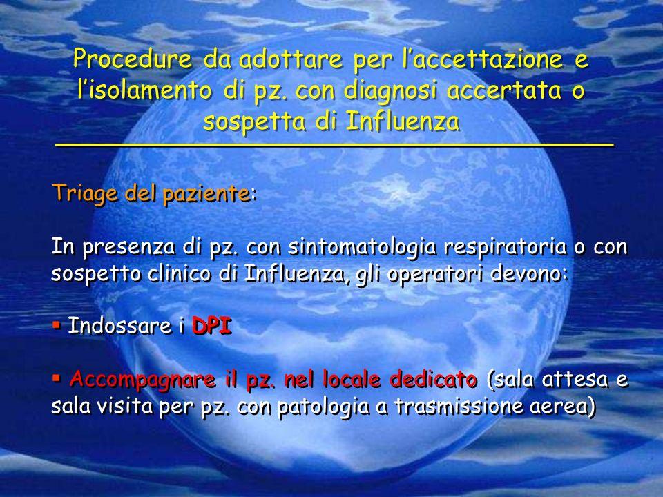 Triage del paziente: In presenza di pz. con sintomatologia respiratoria o con sospetto clinico di Influenza, gli operatori devono:  Indossare i DPI 