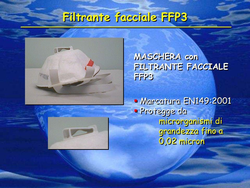 Filtrante facciale FFP3 MASCHERA con FILTRANTE FACCIALE FFP3  Marcatura EN149:2001  Protegge da microrganismi di grandezza fino a 0,02 micron MASCHE