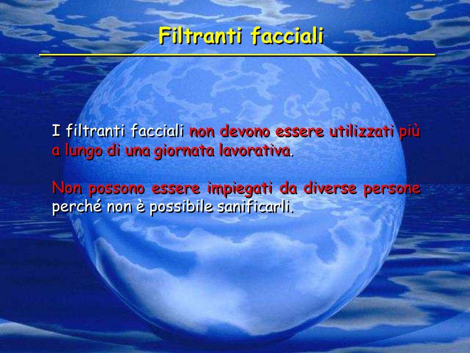 I filtranti facciali non devono essere utilizzati più a lungo di una giornata lavorativa. Non possono essere impiegati da diverse persone perché non è