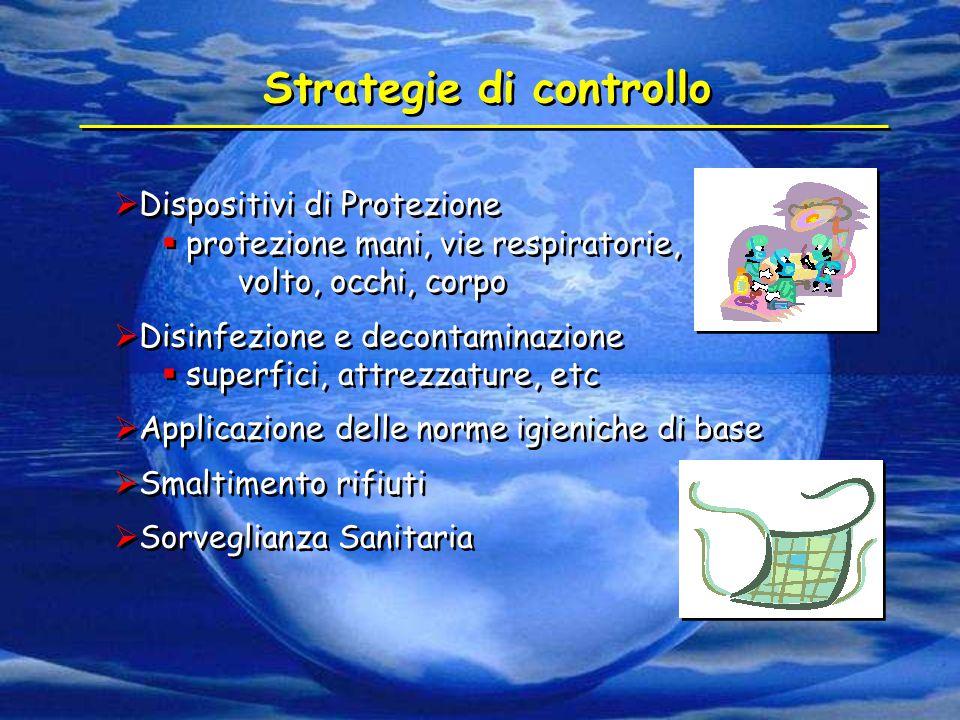  Dispositivi di Protezione  protezione mani, vie respiratorie, volto, occhi, corpo  Disinfezione e decontaminazione  superfici, attrezzature, etc