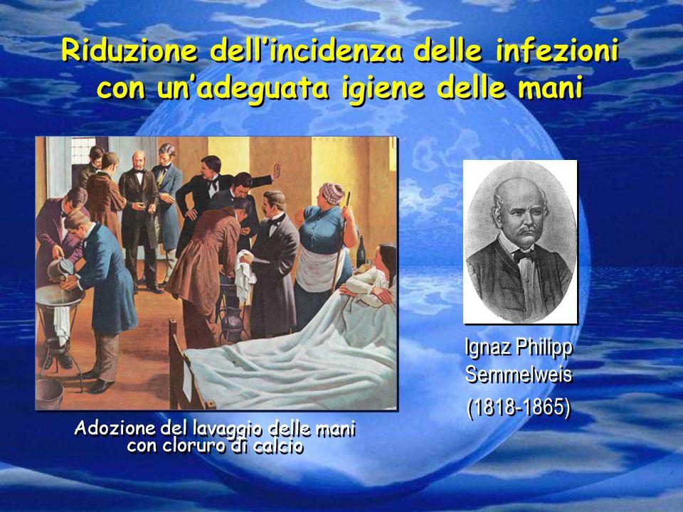 Riduzione dell'incidenza delle infezioni con un'adeguata igiene delle mani Ignaz Philipp Semmelweis (1818-1865) Ignaz Philipp Semmelweis (1818-1865) A