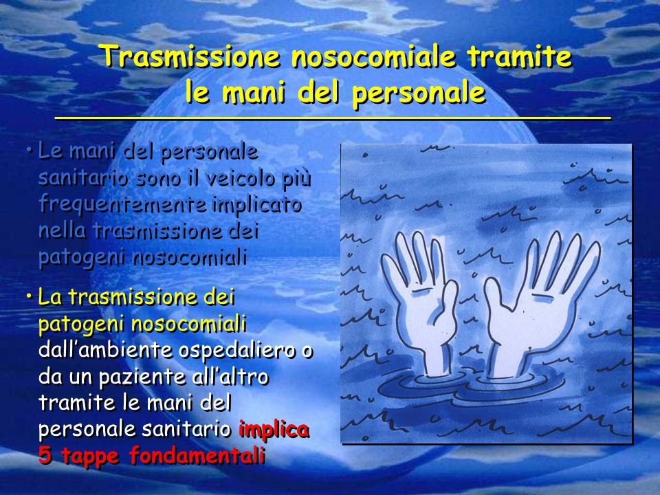 Trasmissione nosocomiale tramite le mani del personale Le mani del personale sanitario sono il veicolo più frequentemente implicato nella trasmissione