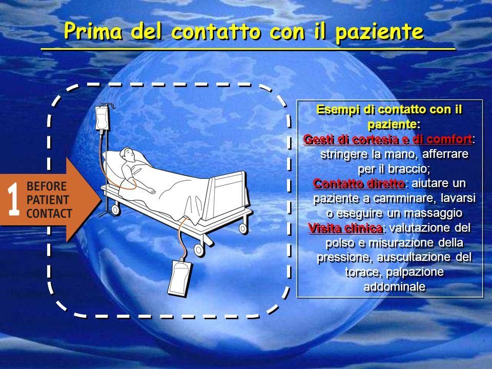 Prima del contatto con il paziente Esempi di contatto con il paziente: Gesti di cortesia e di comfort: stringere la mano, afferrare per il braccio; Co