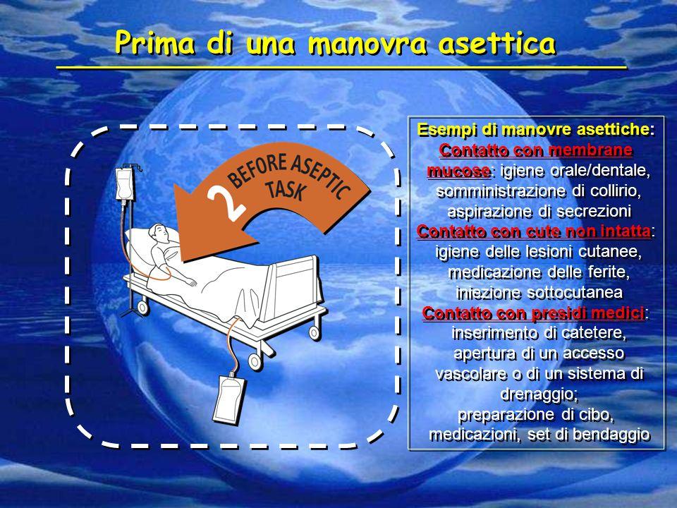 Esempi di manovre asettiche: Contatto con membrane mucose: igiene orale/dentale, somministrazione di collirio, aspirazione di secrezioni Contatto con