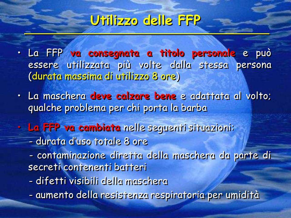 Utilizzo delle FFP La FFP va consegnata a titolo personale e può essere utilizzata più volte dalla stessa persona (durata massima di utilizzo 8 ore) L