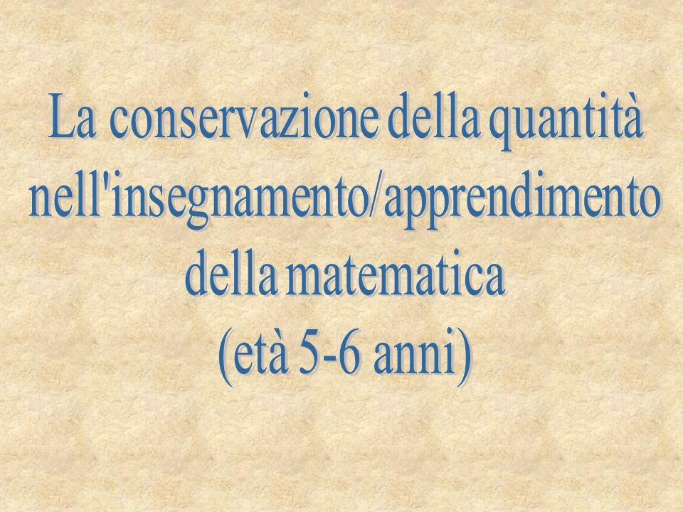 Individuazione del problema La sperimentazione nasce dalla domanda se i bambini in età prescolare possiedono già il concetto di conservazione della quantità.
