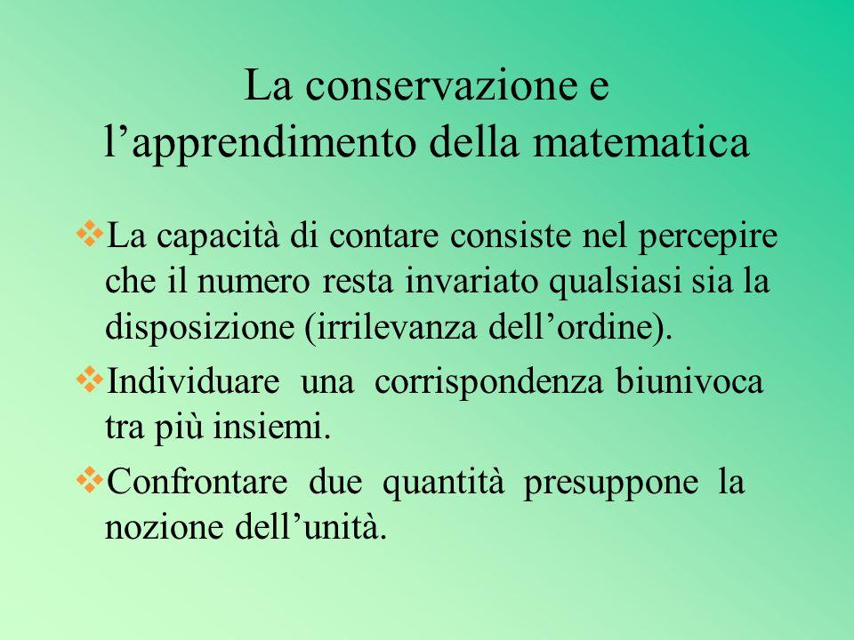 La conservazione e l'apprendimento della matematica vLa capacità di contare consiste nel percepire che il numero resta invariato qualsiasi sia la disposizione (irrilevanza dell'ordine).
