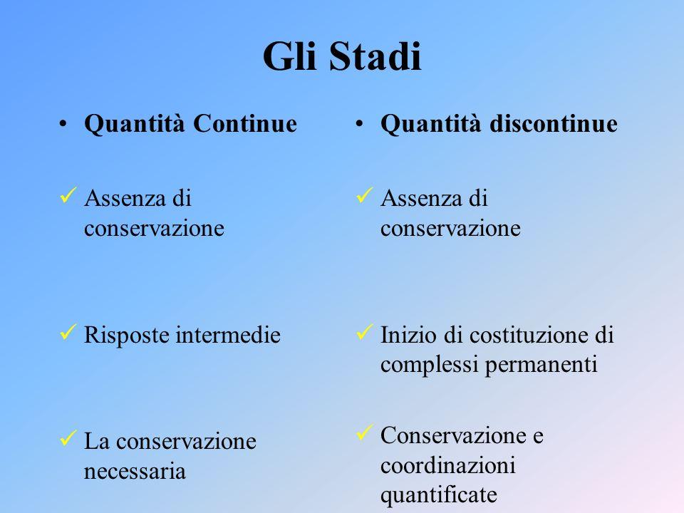 Gli Stadi Quantità Continue Assenza di conservazione Risposte intermedie La conservazione necessaria Quantità discontinue Assenza di conservazione Inizio di costituzione di complessi permanenti Conservazione e coordinazioni quantificate