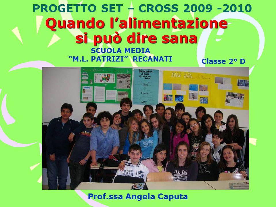 Prof.ssa Angela Caputa Quando l'alimentazione si può dire sana PROGETTO SET – CROSS 2009 -2010 Classe 2° D SCUOLA MEDIA M.L.