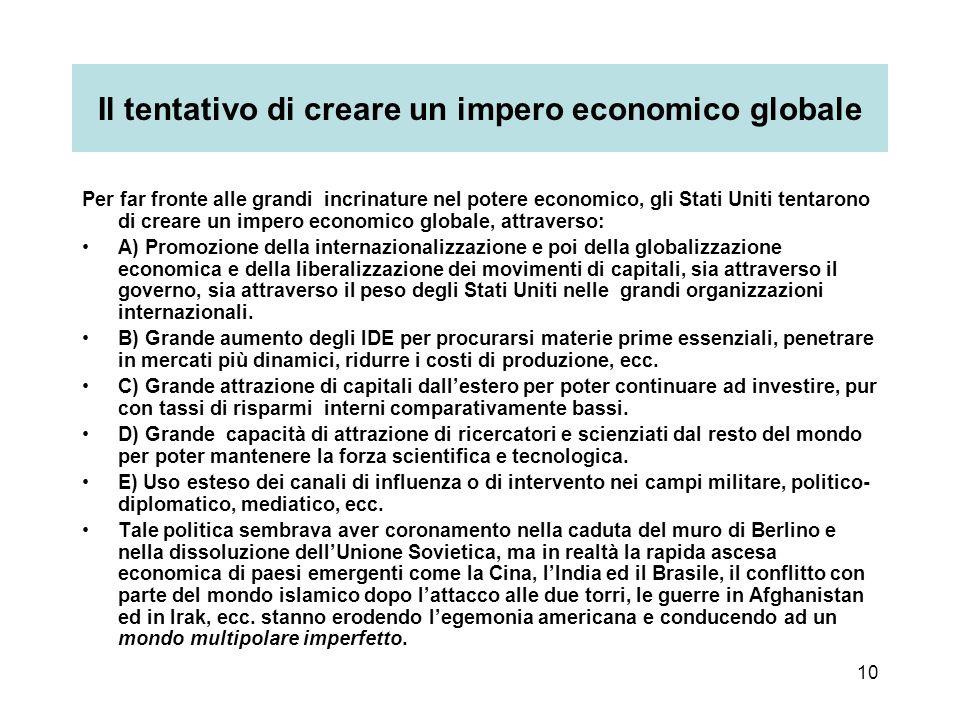 10 Il tentativo di creare un impero economico globale Per far fronte alle grandi incrinature nel potere economico, gli Stati Uniti tentarono di creare