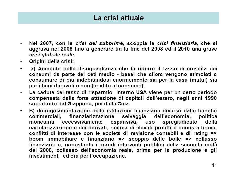 11 La crisi attuale Nel 2007, con la crisi dei subprime, scoppia la crisi finanziaria, che si aggrava nel 2008 fino a generare tra la fine del 2008 ed