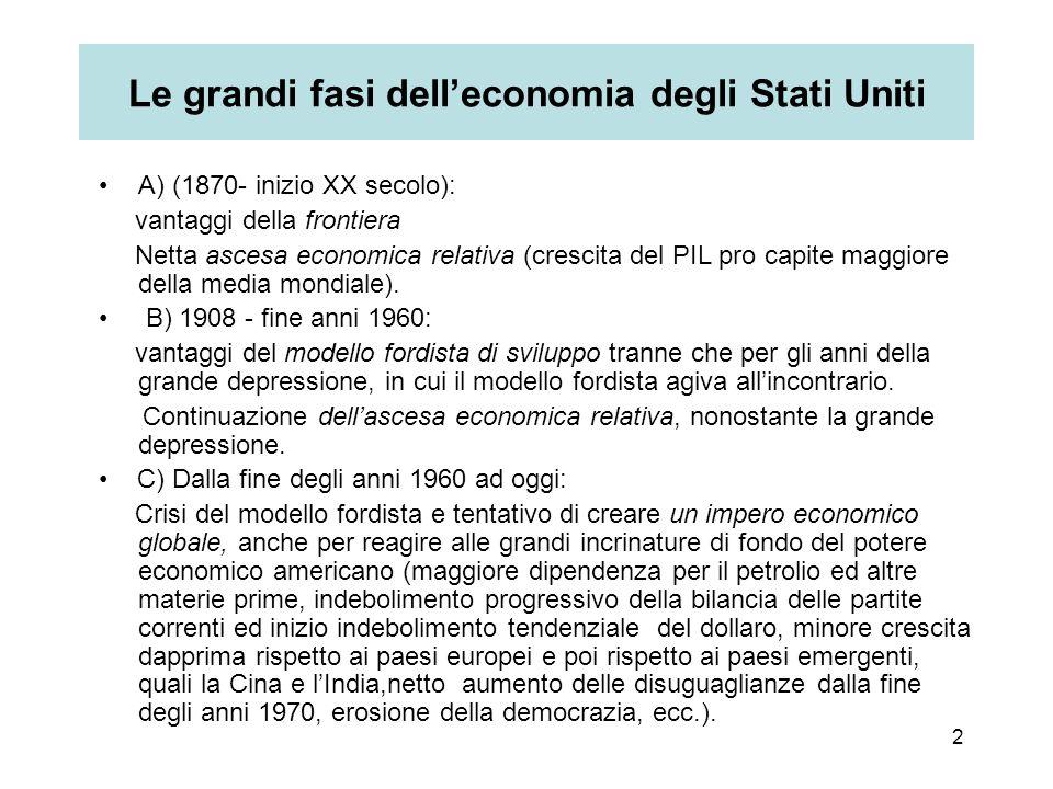 2 Le grandi fasi dell'economia degli Stati Uniti A) (1870- inizio XX secolo): vantaggi della frontiera Netta ascesa economica relativa (crescita del PIL pro capite maggiore della media mondiale).