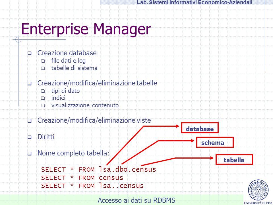 Accesso ai dati: SQL Server 2000, CSV, XML e altri RDBMS LSA - Laboratorio di Sistemi Informativi Economico-Aziendali Salvatore Ruggieri Dipartimento di Informatica, Università di Pisa