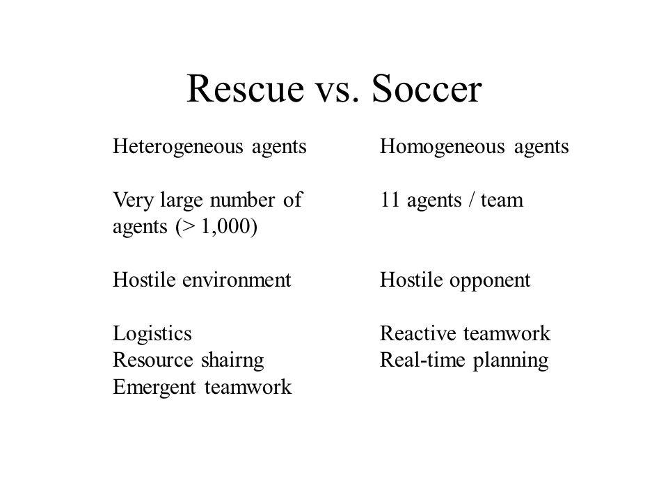 Rescue vs. Soccer Heterogeneous agentsHomogeneous agents Very large number of11 agents / team agents (> 1,000) Hostile environmentHostile opponent Log
