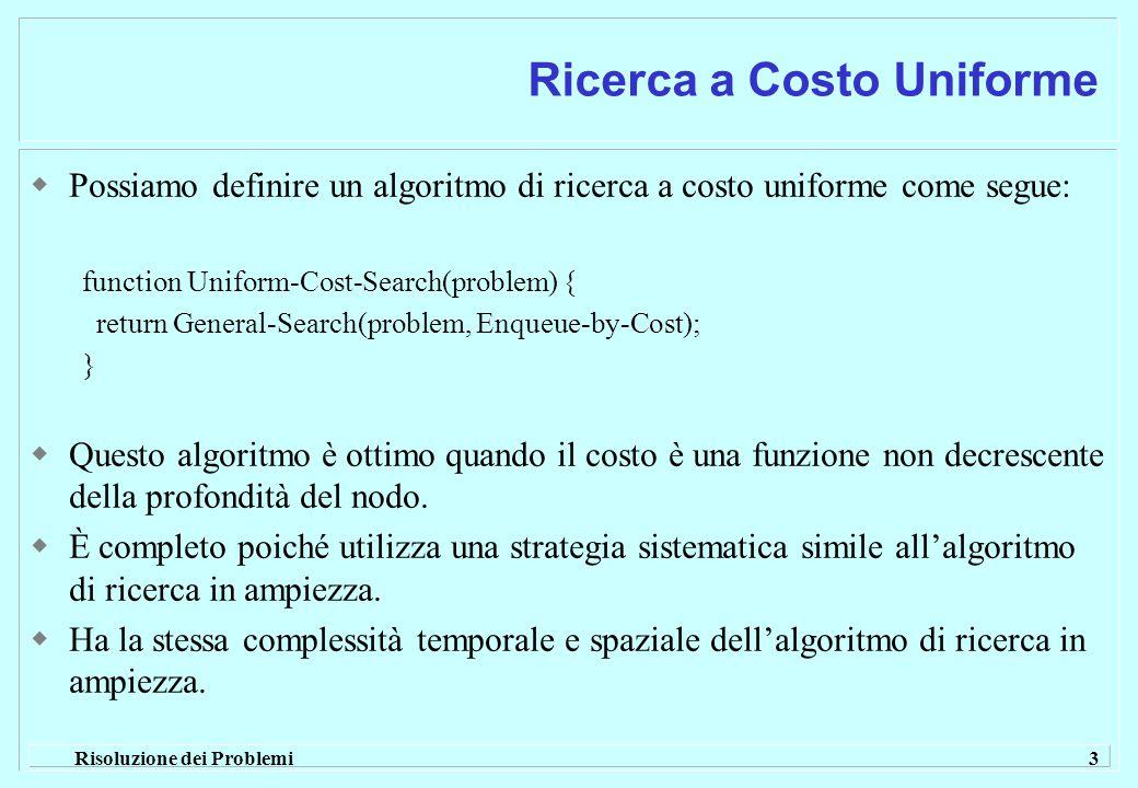 Risoluzione dei Problemi 3 Ricerca a Costo Uniforme  Possiamo definire un algoritmo di ricerca a costo uniforme come segue: function Uniform-Cost-Search(problem) { return General-Search(problem, Enqueue-by-Cost); }  Questo algoritmo è ottimo quando il costo è una funzione non decrescente della profondità del nodo.