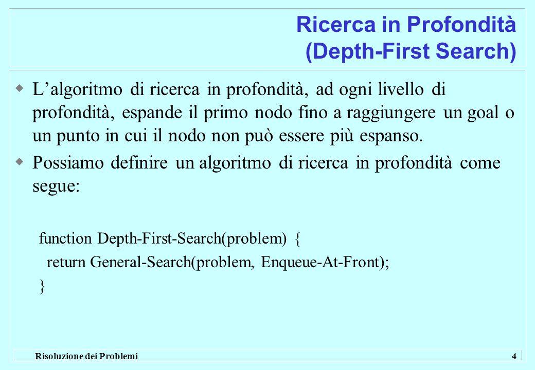 Risoluzione dei Problemi 4 Ricerca in Profondità (Depth-First Search)  L'algoritmo di ricerca in profondità, ad ogni livello di profondità, espande il primo nodo fino a raggiungere un goal o un punto in cui il nodo non può essere più espanso.