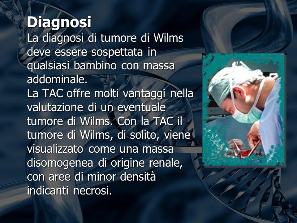 Diagnosi La diagnosi di tumore di Wilms deve essere sospettata in qualsiasi bambino con massa addominale.