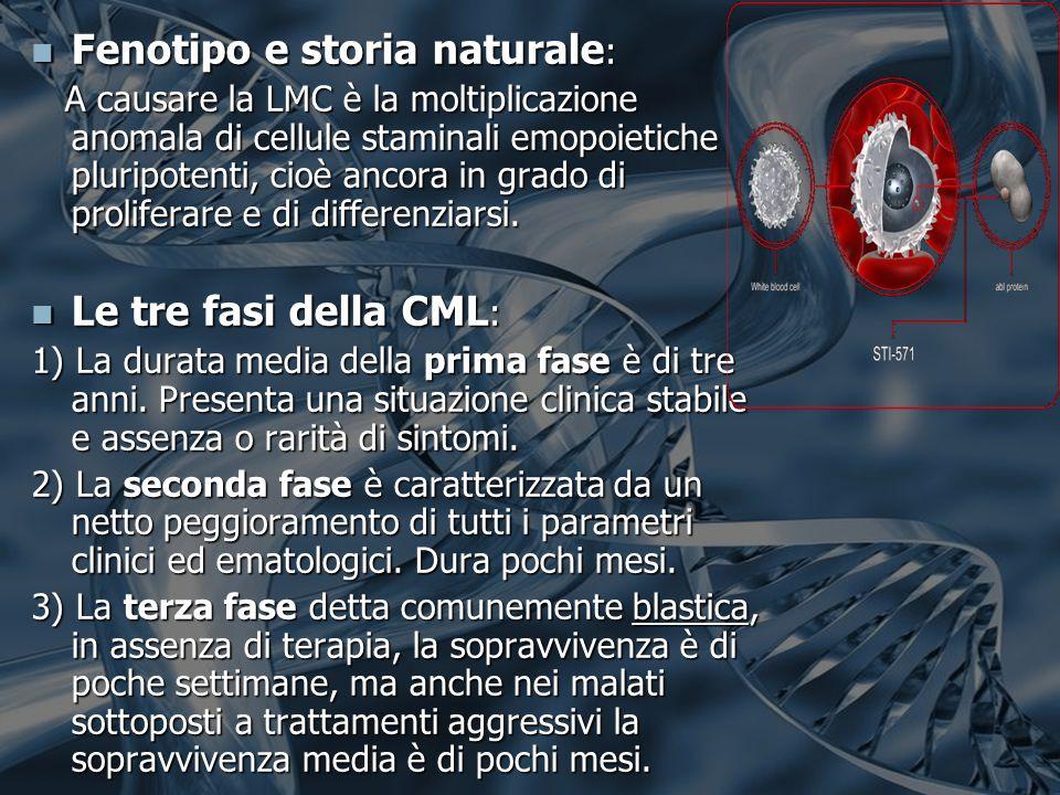 Fenotipo e storia naturale : Fenotipo e storia naturale : A causare la LMC è la moltiplicazione anomala di cellule staminali emopoietiche pluripotenti, cioè ancora in grado di proliferare e di differenziarsi.