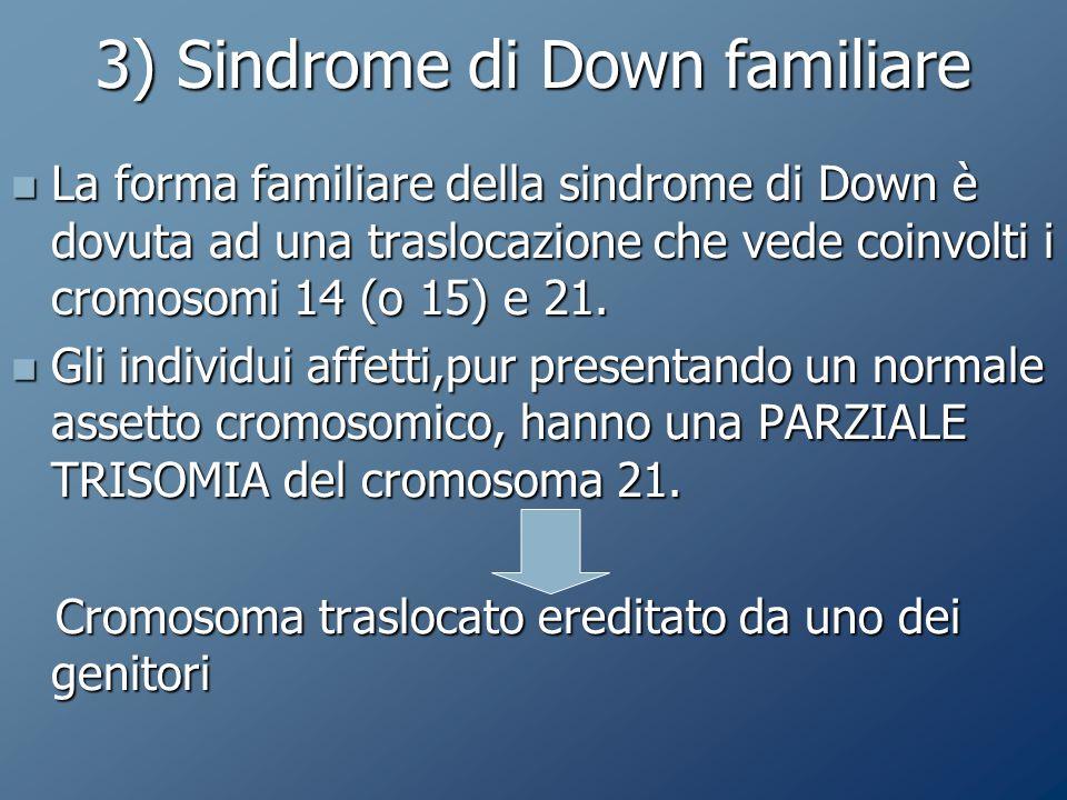 3) Sindrome di Down familiare La forma familiare della sindrome di Down è dovuta ad una traslocazione che vede coinvolti i cromosomi 14 (o 15) e 21.
