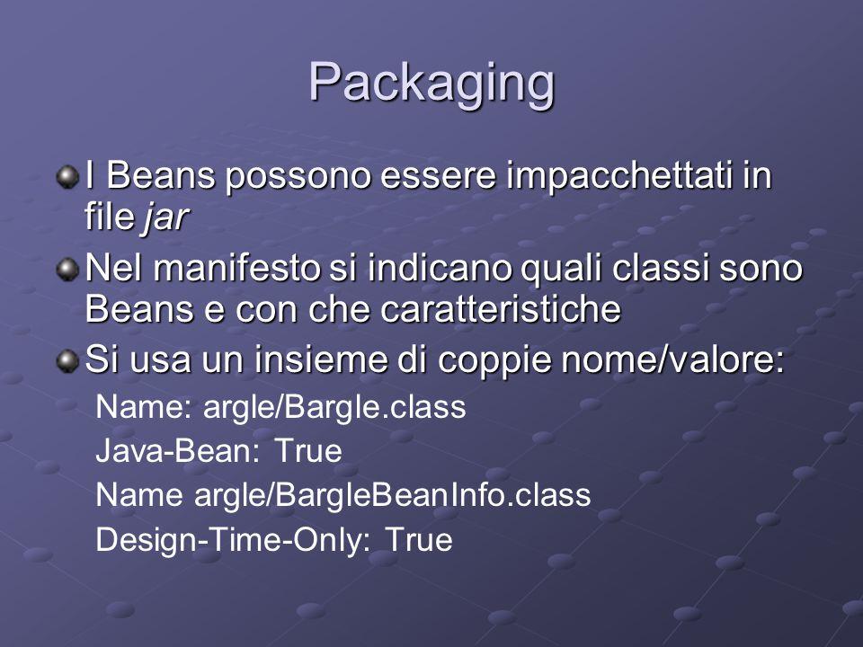 Packaging I Beans possono essere impacchettati in file jar Nel manifesto si indicano quali classi sono Beans e con che caratteristiche Si usa un insie