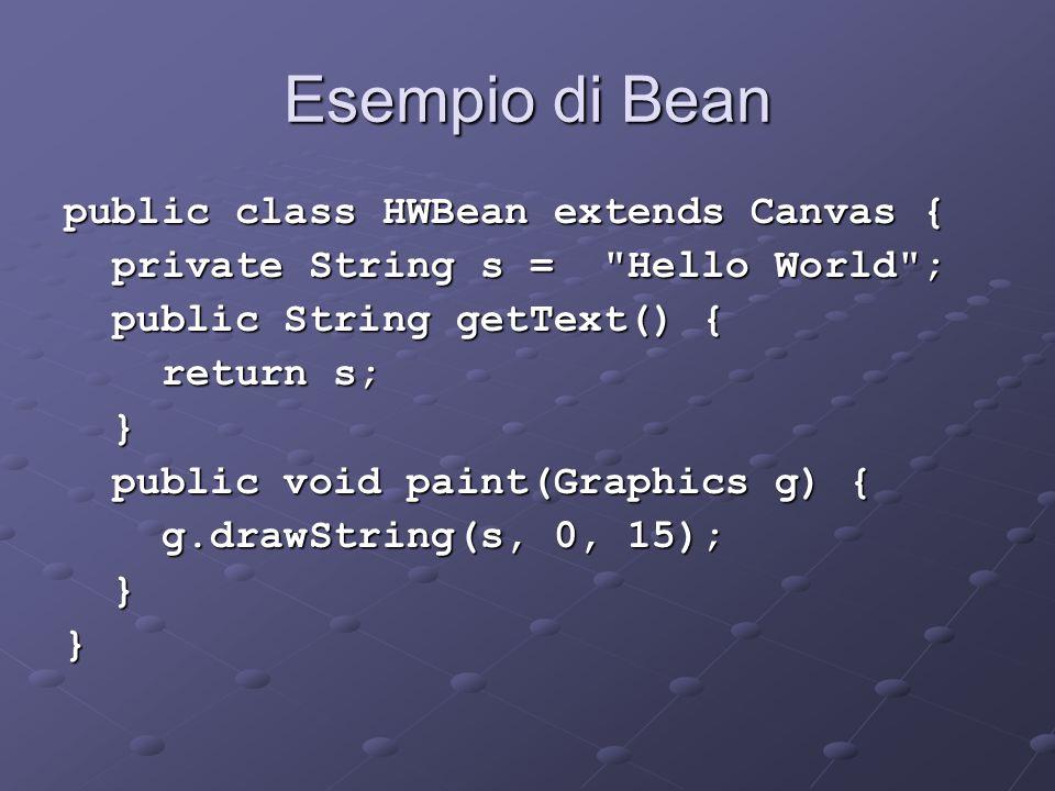 Esempio di Bean public class HWBean extends Canvas { private String s =