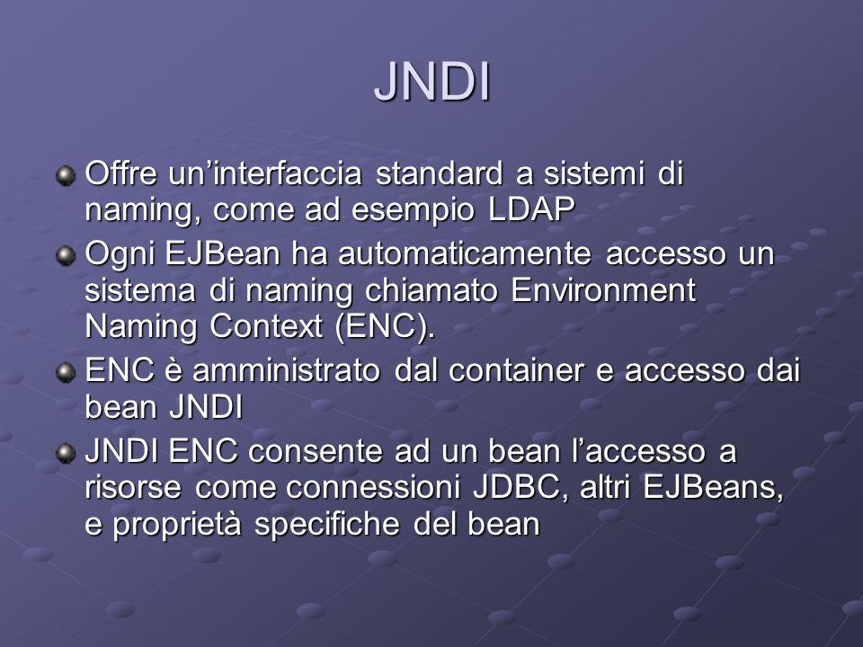 JNDI Offre un'interfaccia standard a sistemi di naming, come ad esempio LDAP Ogni EJBean ha automaticamente accesso un sistema di naming chiamato Environment Naming Context (ENC).