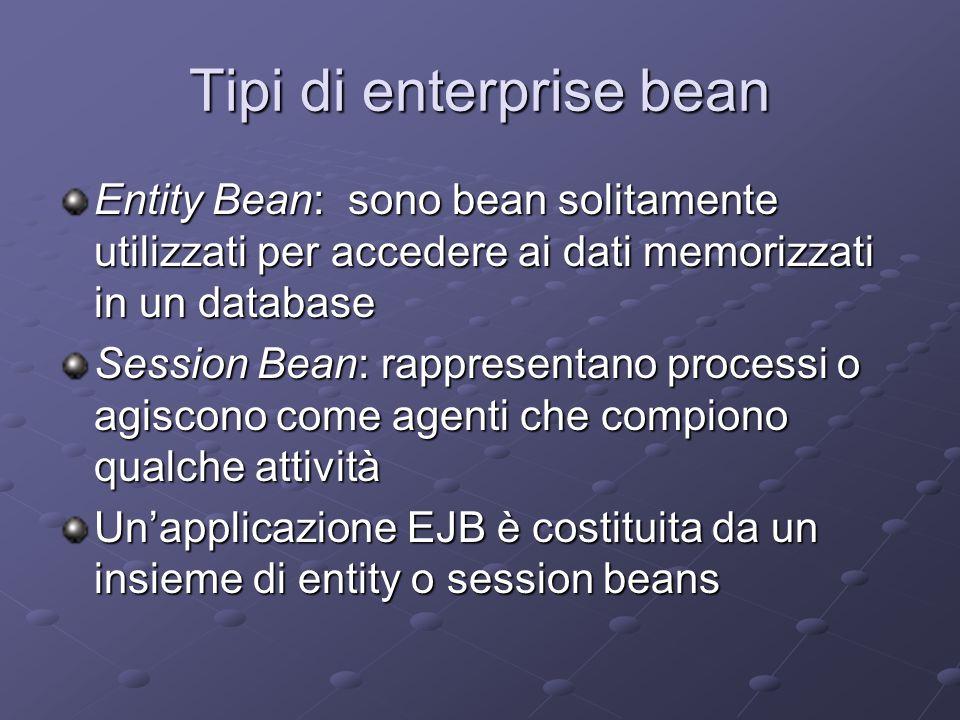 Tipi di enterprise bean Entity Bean: sono bean solitamente utilizzati per accedere ai dati memorizzati in un database Session Bean: rappresentano processi o agiscono come agenti che compiono qualche attività Un'applicazione EJB è costituita da un insieme di entity o session beans