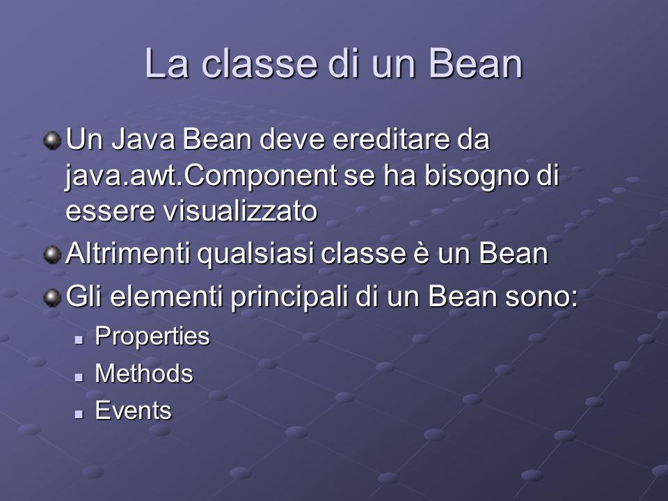 La classe di un Bean Un Java Bean deve ereditare da java.awt.Component se ha bisogno di essere visualizzato Altrimenti qualsiasi classe è un Bean Gli elementi principali di un Bean sono: Properties Properties Methods Methods Events Events