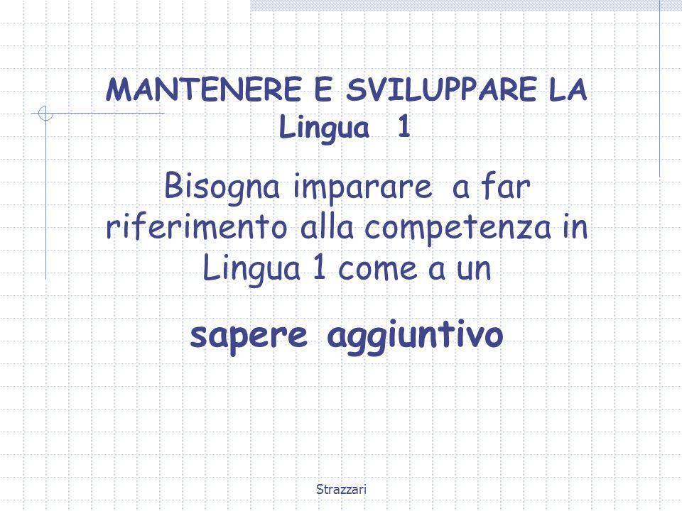 Strazzari MANTENERE E SVILUPPARE LA Lingua 1 Bisogna imparare a far riferimento alla competenza in Lingua 1 come a un sapere aggiuntivo