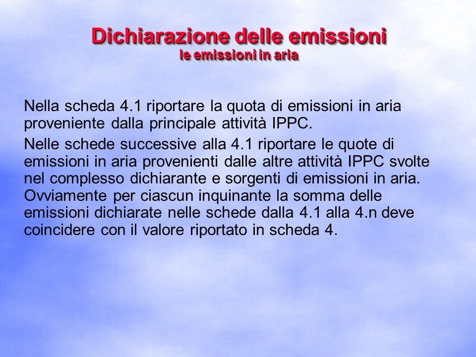 Nella scheda 4.1 riportare la quota di emissioni in aria proveniente dalla principale attività IPPC.